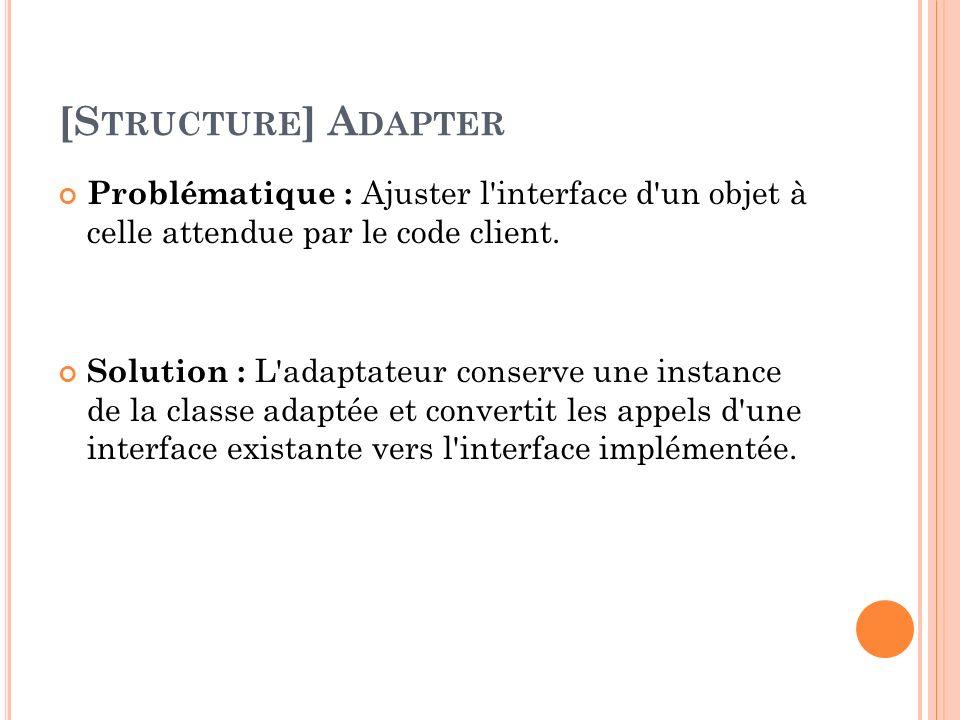 [Structure] Adapter Problématique : Ajuster l interface d un objet à celle attendue par le code client.